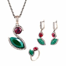 2016 Vintage Style antique Gold Plated Austrian Crystal  Pendant Necklace&Earrings Set Party Jewelry Sets For Women недорого