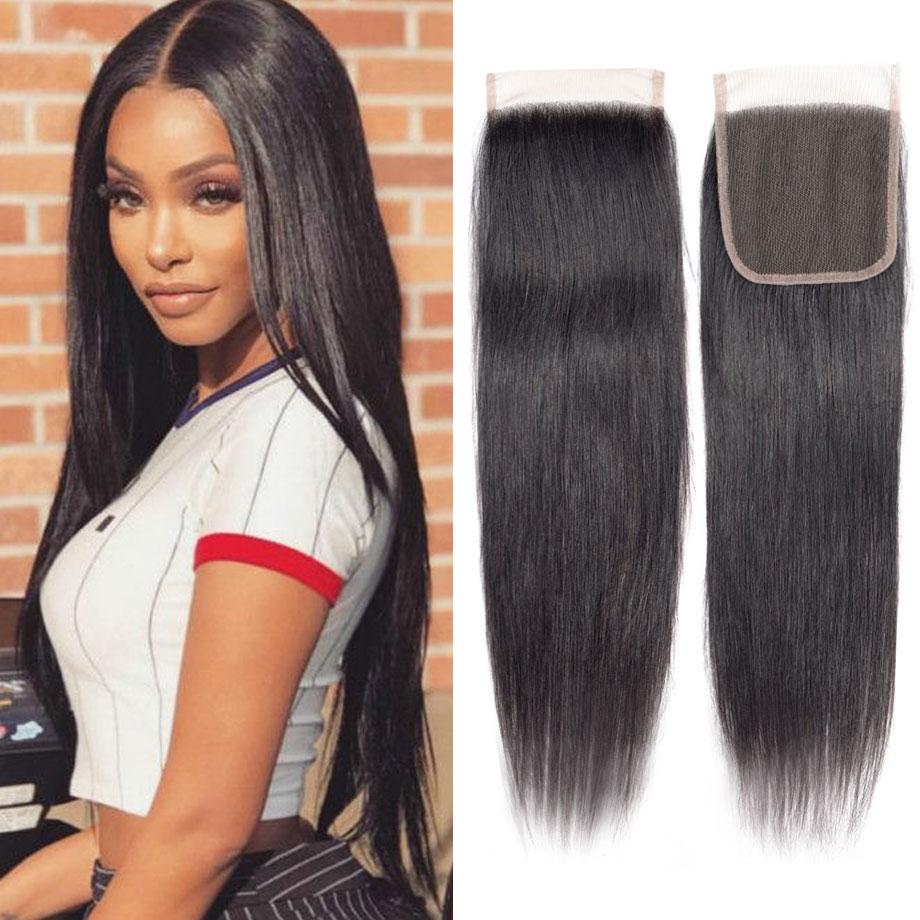mobok 100% brazilian human hair straight 8 22 inch 4*4 lace