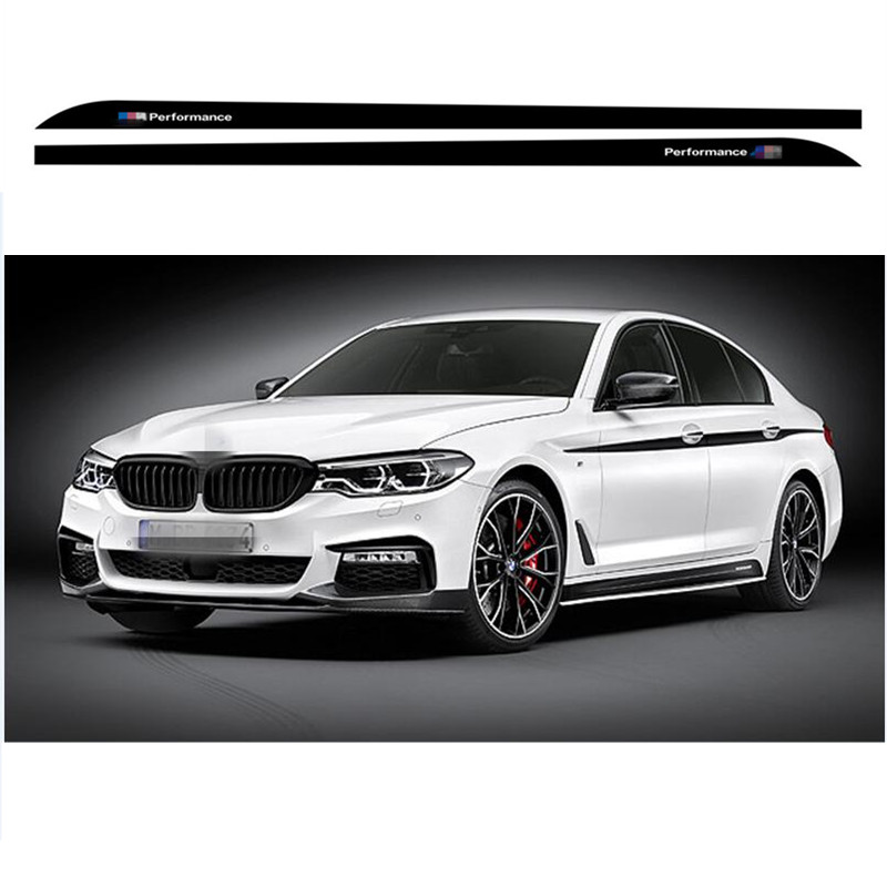 Charming Horse 2168 Store 3-Color Matter/Gloss/5D carbon Fibre Black M Sport Performance Side Skirt Racing Stripe Sticker Body Decal For BMW 5 Series G30
