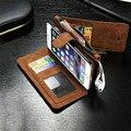 De Cuero de lujo Retro Flip multifunción Extraíble Monedero Money Card Bag Holder estuches para iphone 5 5s se 6 6 s 7 más cubierta