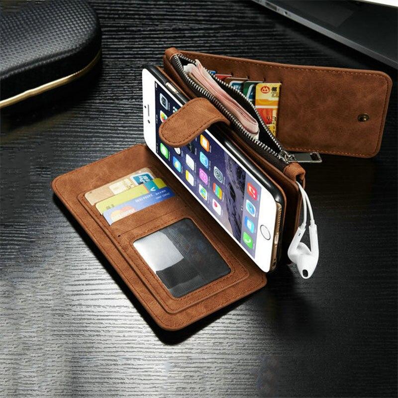 imágenes para De Cuero de lujo Retro Flip multifunción Extraíble Monedero Money Card Bag Holder Estuches Para iphone 5 5S SE 6 6 S 7 Más cubierta