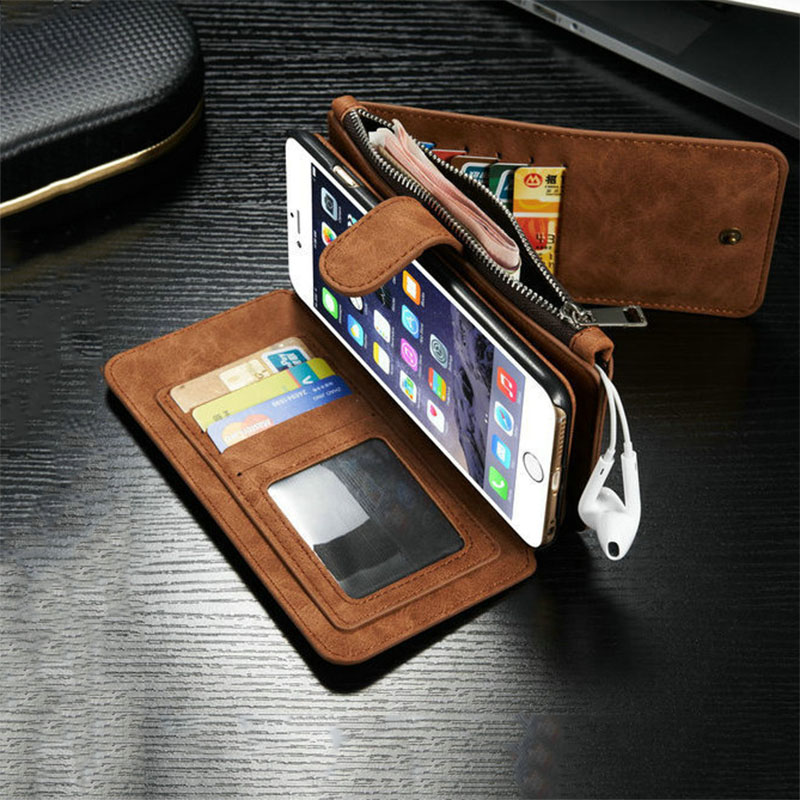 Luxury Retro Leather Flip Multi-function Removable Wallet Card Money Bag Holder Stand Cases For iphone 5 5S SE 6 6S 7 Plus Cover
