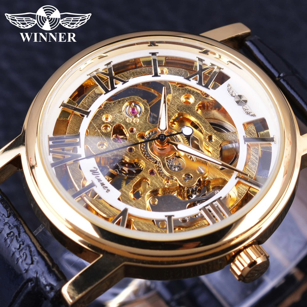 Winner Super Thin Transparent Case Roman Number Display Mens Skeleton Watches Top Brand Luxury Mechanical Male Wrist Watch Clock winner classic retro design transparent golden case back mens watches top brand luxury automatic male mechanical skeleton watch