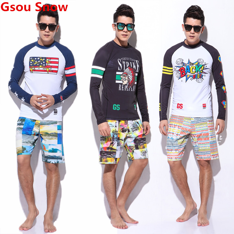 GS men rashguard swimwear two piece swimsuit boardshorts diving lycra surf shirt board shorts maillot de bain homme sbart 50 rashguard 930 y