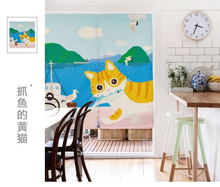 Japan Stil Cartoon Kinder Baumwolle Katze Tur Vorhang Dekoration Hangen Schlafzimmer Wohnzimmer Kuche Home Bar Kaffeehaus In