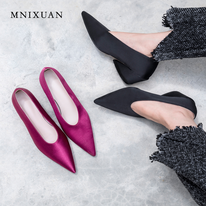 MNIXUAN handmade women pumps shoes genuine leather high heels 2018 new pointed toe sexy office ladies shoes big plus size black cocoafoal woman green high heels shoes plus size 33 43 sexy stiletto red wedding shoes genuine leather pointed toe pumps 2018