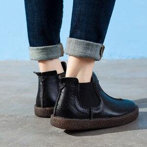 Image 3 - 2020 女性イングランドスタイルブランド新女性の本革フラットブーツの靴秋のアンクルブーツ冬のレトロなブーツ