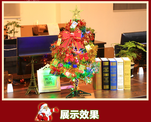 office desktop christmas tree set 60cm cash register decoration led christmas tree with ornaments