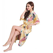Fashion Gold Women's Silk Rayon Nightgown Wedding Robe Kimono Bath Gown Printed Sleepwear Oversize S M L XL XXL XXXL Z003(China)