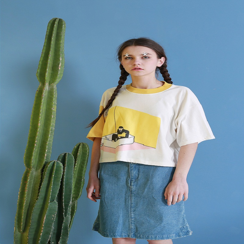 Yellow Casual Summer Women Tshirt Playful Print Tee Shirt Top Design O Neck Loose Short Sleeve T-shirt White Patch 2018 Fashion