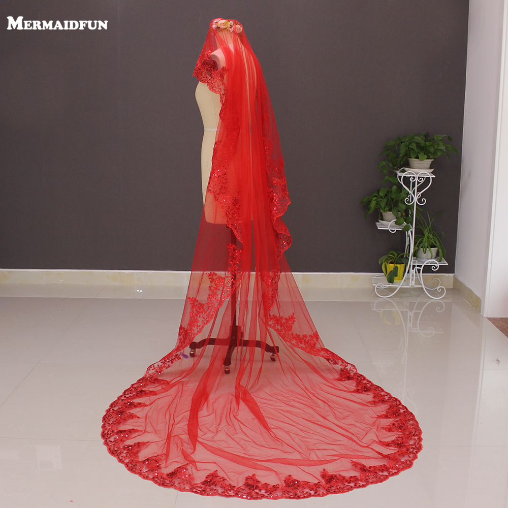 2019 New One Layer Lace Appliques Red Long Wedding Veil sin Peine 3 Metros Long Bridal Veil Voile Mariage