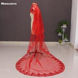 2019 nuevo una capa de encaje apliques rojo largo velo de novia sin peine 3 metros de largo velo de novia Voile Mariage