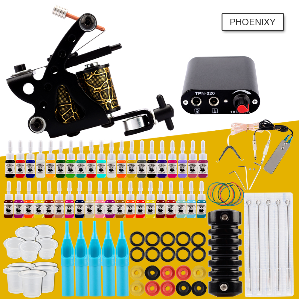 Starter Tattoo Machine Kit Set 1 Coils Guns 20 Colors Pigment Inks Sets Black Power Tattoo Beginner Grip Kit Permanent Makeup