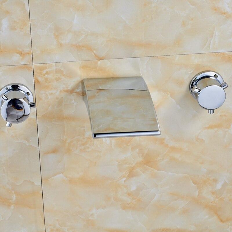 Chrome Waterfall Spout Bathroom Tub Faucet Dual Handles Vanity Sink Mixer Tap