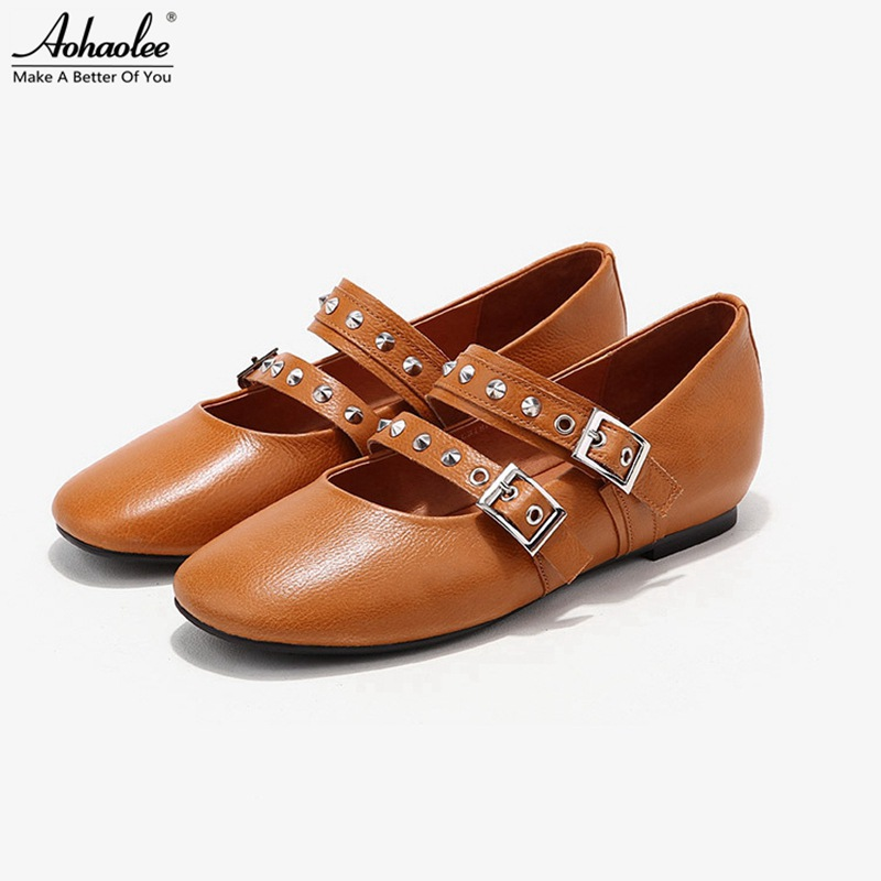 Aohaolee 3 Pair / Lot Women Ballet Shoes Genuine Leather Ballet Flats Round Toe Ankle Strap Rivet Studs Comfortable Loafer Shoes meotina women flat shoes ankle strap flats pointed toe ballet shoes two piece ladies flats beading causal shoes beige size 34 43
