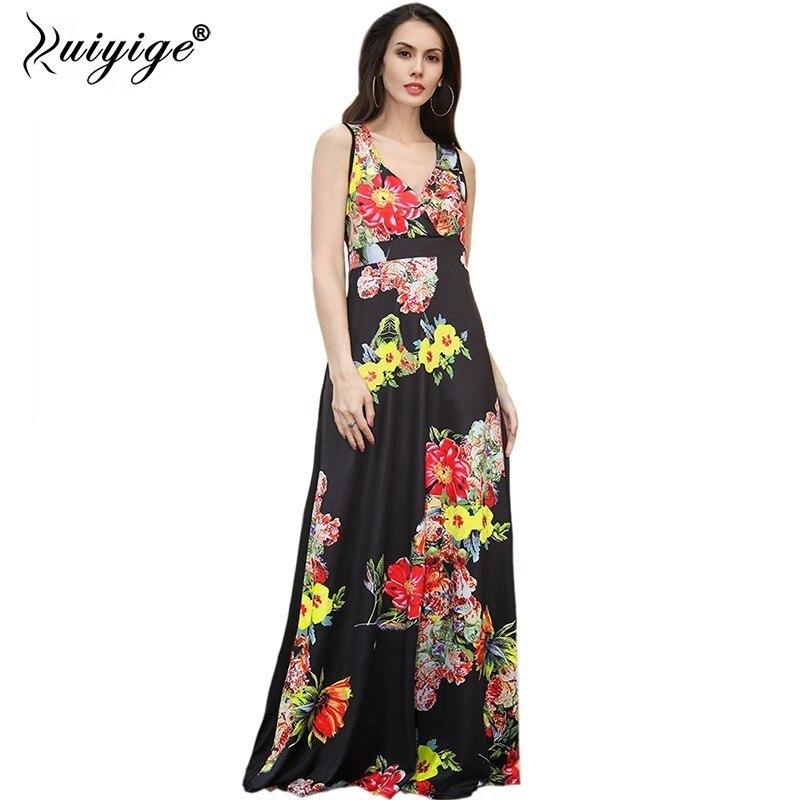 2018 Robe D'été Femmes Boho Imprimé floral A-ligne Sans Manches Robes Réservoir Empire Profond Col V Longue Maxi Plus La Taille Tunique Robe