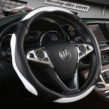 KKYSYELVA Blue Steering-wheel cover Soft leather Auto steering wheel Non-slip Red car covers 38cm