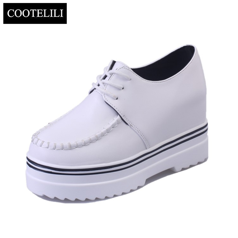COOTELILI Autumn Casual Flats Women wedges Shoes Platforms Soft Leather Round Toe Inside Increased Lace-Up Solid Shoes Woman