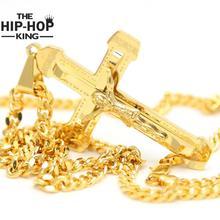 2016 Hombre de la Cruz Collar de Acero Inoxidable Chapado En Oro Diseño Estereoscópico Jesucristo Crucifijo Collares Declaración Accesorios