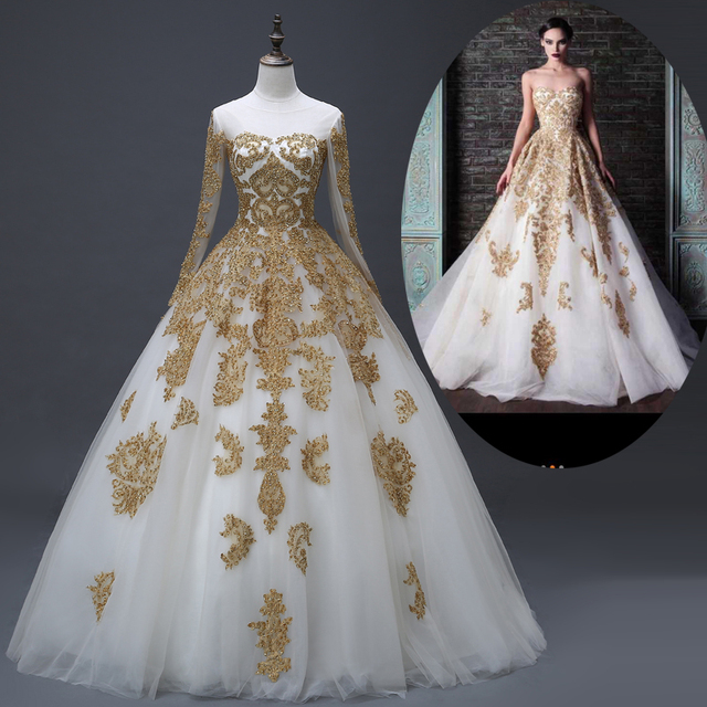 Vintage Wedding Dresses Gold : Wedding dresses dubai long sleeve ball gown islamic bridal gold