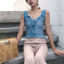 Korean Womens Sexy V-Neck Agaric Ruffles Crop Tops Solid Color Criss Cross Drawstring Vest Slim Fit Ribbed Knitted Camis Shirt criss cross back ribbed tee