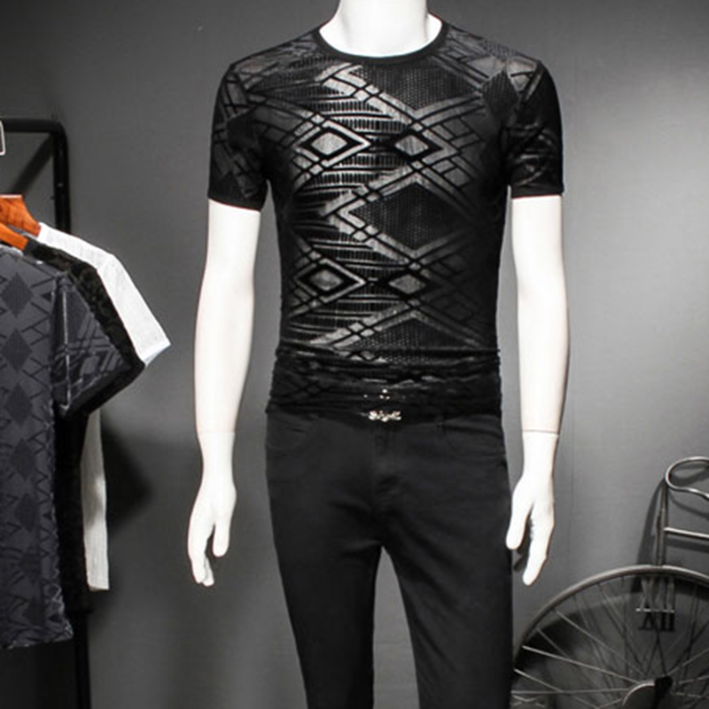 2018 New Male Transparent Tee Shirt Men Mesh Burn Out See Through Sexy Men T-shirt Designer Fashionable Tshirt Prom Ourfit