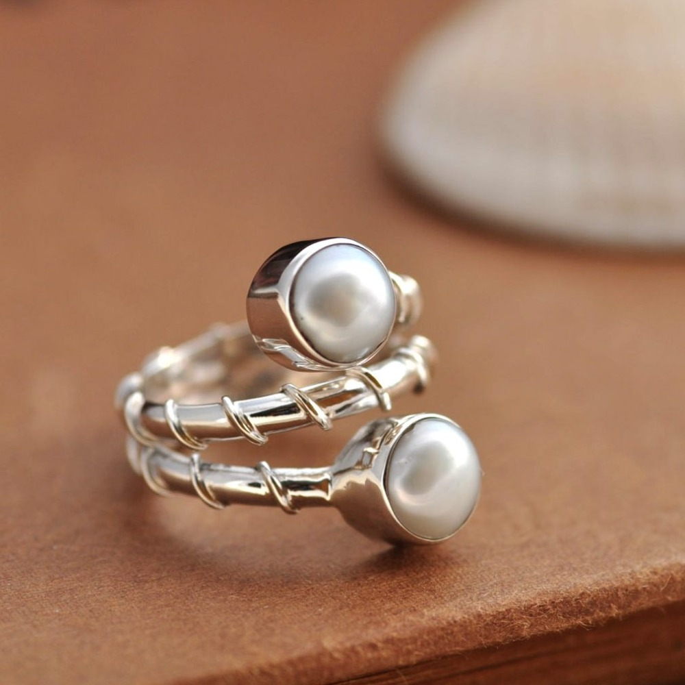 Aliexpress : Buy Nepal Handmade Vintage 925 Sterling Silver Ring With  Double 08cmx08cm Natural Pearl Rings Gift For Women From Reliable Gift  Bow Ring