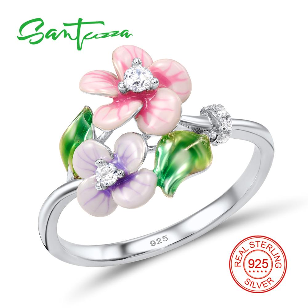 Silver Flower Ring for Women White Cubic Zirconia Stones Pure 925 Sterling Silver Ring Fashion Jewelry