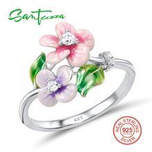 Серебряный цветок кольцо для Для женщин белый кубический цирконий Камни Pure 925 Серебряное кольцо Модные украшения ручной работы эмаль