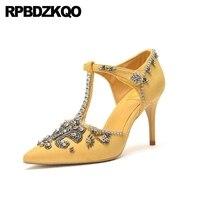 thin pumps cinderella t strap high heels crystal super women rhinestone 8cm pointed toe diamond casual bar ladies yellow shoes