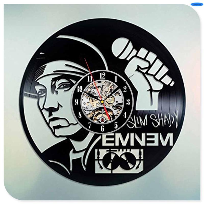 Home & Garden Just Rapper Eminem Black Vinyl 3d Wall Clock Quartz Clock Slim Shady Wall Clock Modern Design Crafts For Home