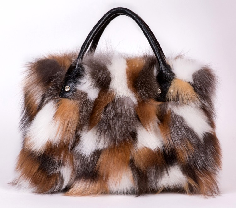 Luxry Real Fox Fur Women Handbags Genuine leather Newest Party Multicolour Bags Fox Fur Ladies Shoulder