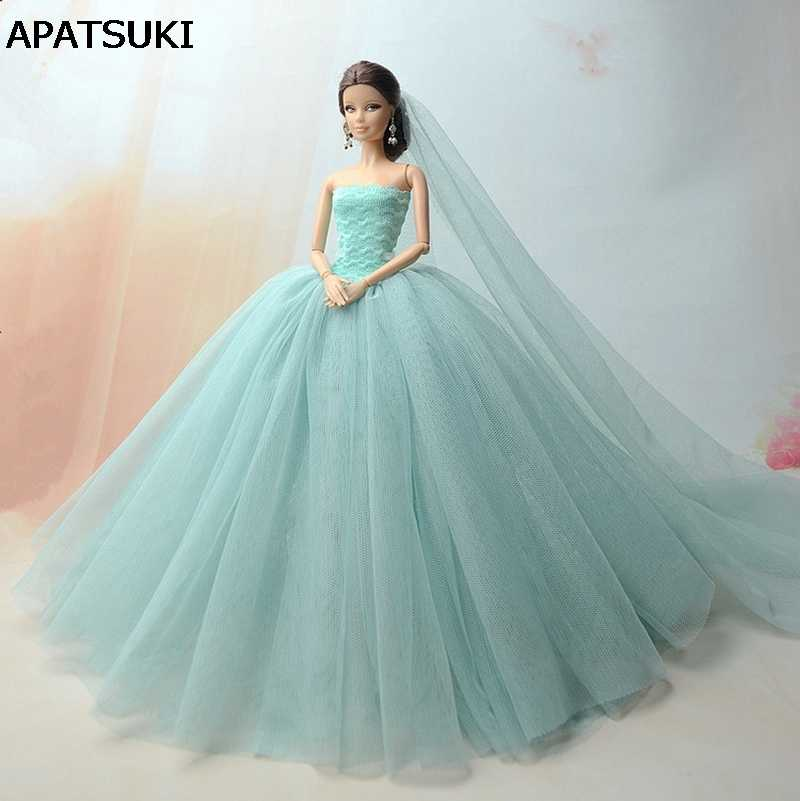 Doll Dresses High Quality Long Tail Evening Gown Clothes Wedding Dress +Veil For Barbie Doll 1:6 Doll Accessories