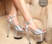 2016 heißer verkauf! Glitter Sandalen Sommer 17 cm dünne high heels sandalen, transparente plattform frauen party schuhe