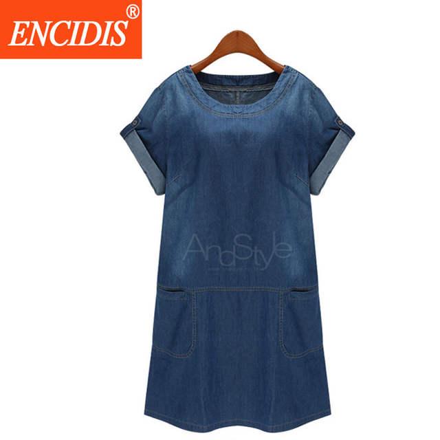 be30d06010b European 5XL Plus Size Short Sleeve Denim Dress Women Fashion Clothing  Summer Dress 2017 Casual Loose