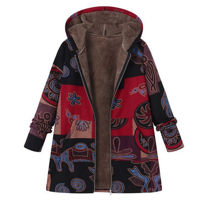 2018 European American Fleece Lined Thicken Parkas Coats Women Plus Size Cartoon Printed Outerwear Winter Warm   Basic     Jackets