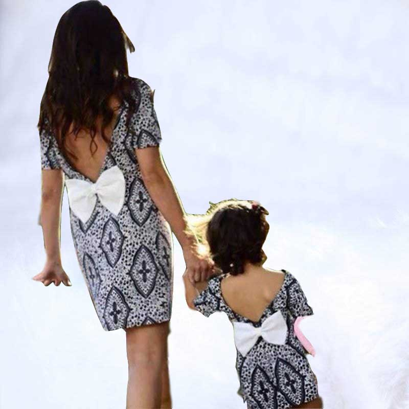 2019 Family Matching Clothes Summer Mother Daughter Dresses Short Sleeve Backless Butterfly Knot Dress Baby Girl Clothes2019 Family Matching Clothes Summer Mother Daughter Dresses Short Sleeve Backless Butterfly Knot Dress Baby Girl Clothes
