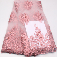 Noble French Tulle Lace Fabric Hihg Quality Embroidery 2017 Wedding Nigerian African Lace Fabric With