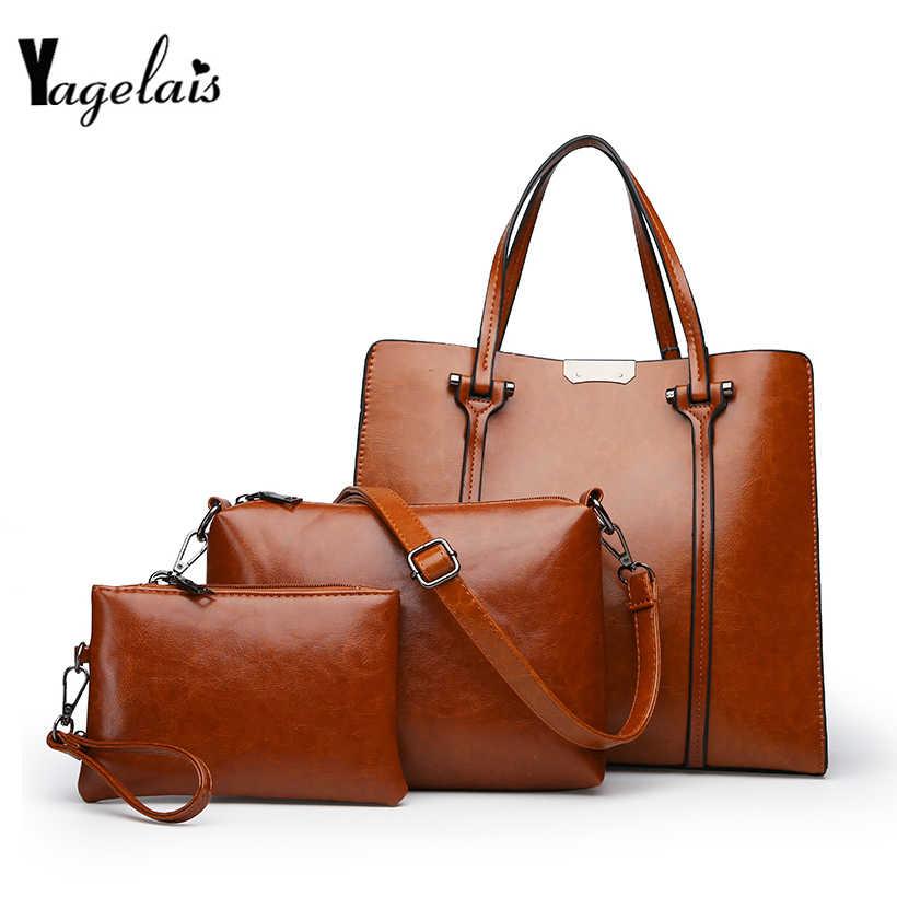 Women Composite Bags Set 3 Pcs PU Leather Handbag Large Capacity Tote Bag  Ladies Shoulder Messenger 8e9d7740f713