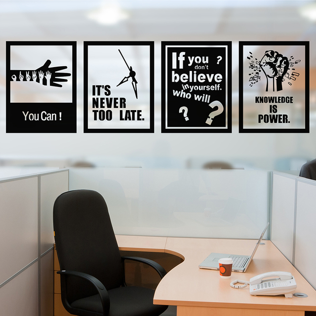 [SHIJUEHEZI] Customized Wall Stickers Quotes For Company Office Decorative Wall  Decals PVC Material Carving