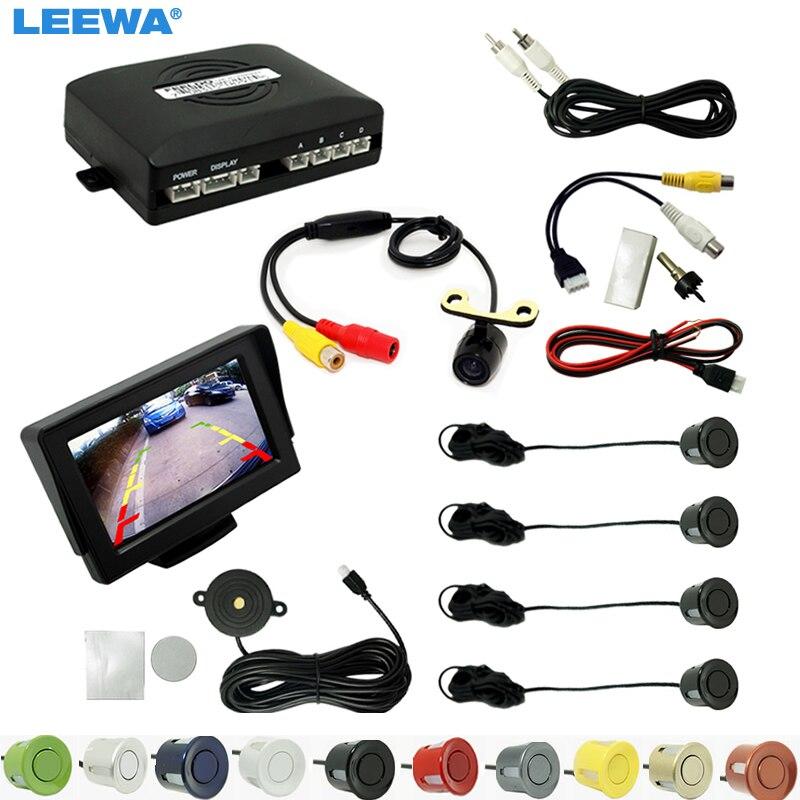 LEEWA Car 4.3 LCD Monitor 4-sensor Parking Sensor 16.5mm Mini CCD Camera Reversing Rearview Parking System #CA962