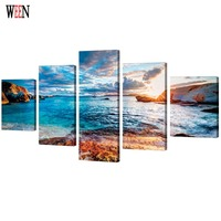 HD Printed Sea Landscape Poster With Framed Direatly Handed 5 Piece Canvas Art Pictures For Living Room cuadros decoracion gift