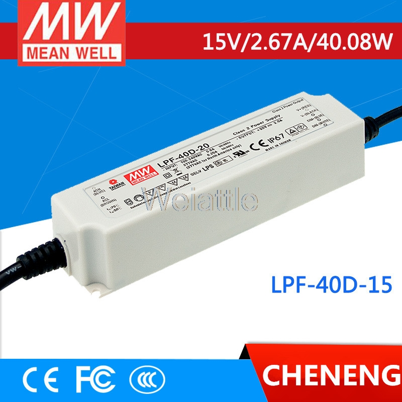 MEAN WELL original LPF-40D-15 15V 2.67A meanwell LPF-40D 15V 40.08W Single Output LED Switching Power SupplyMEAN WELL original LPF-40D-15 15V 2.67A meanwell LPF-40D 15V 40.08W Single Output LED Switching Power Supply