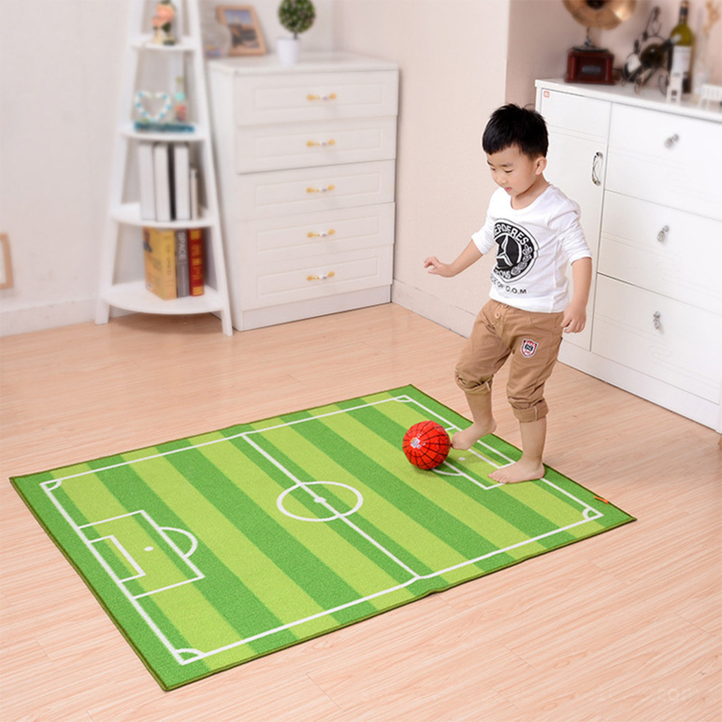 1PCS 100x130cm Children Football Field Gate Carpet Jogging Football Training Kids Baby Play Mat Living Room Bedroom Rug Blanket