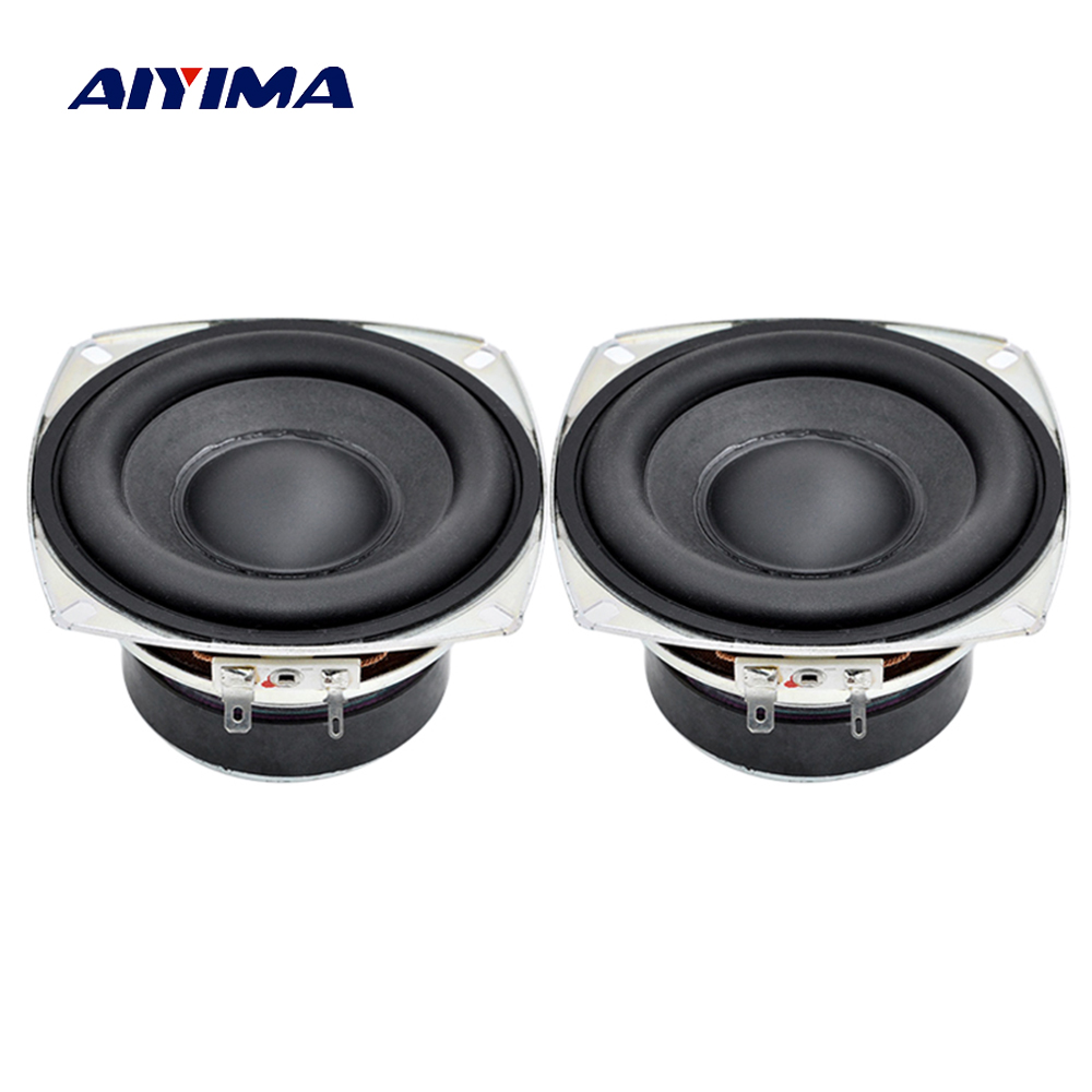 Aiyima 2PC 4Inch Audio Speaker 4ohm 6ohm 20W Full Range Speaker Subwoofer HIFI R Edge Bass Loudspeaker quantum alpha series 6 5 inch component speaker