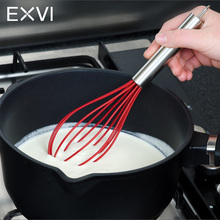 EXVI New Style Silicone Egg Beater Kitchen Tools Hand Egg Mixer Cook Butter Foamer Wisk Blender Wire Silicone Comfortable Handle