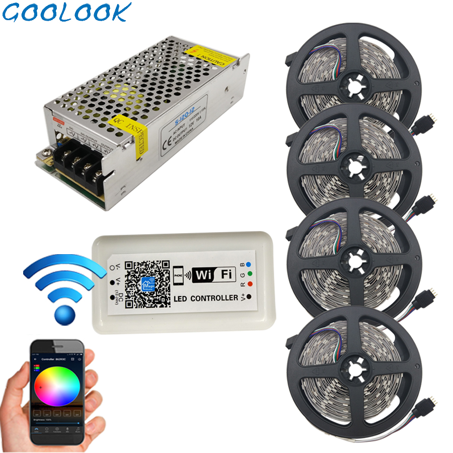 Goolook LED Strip RGB 5050  Waterproof Led Strip Light  Android Wifi Remote Controller Diode Tape 12v  Led Ribbon Adapter