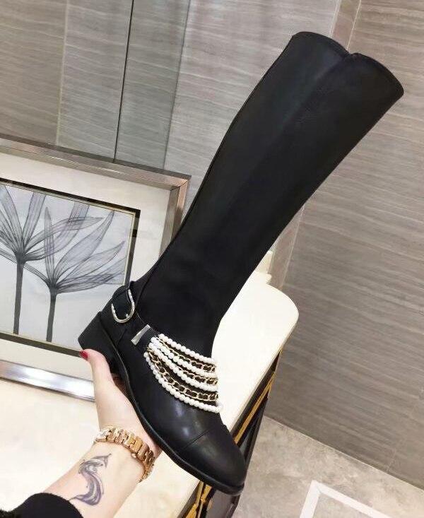 Chelsea Cheville Dames Bottes Short Piste 2018 Véritable Chaîne Métal Pour Femmes En Chevalier Embelli Perle Genou Longues long Cuir RqfAzav