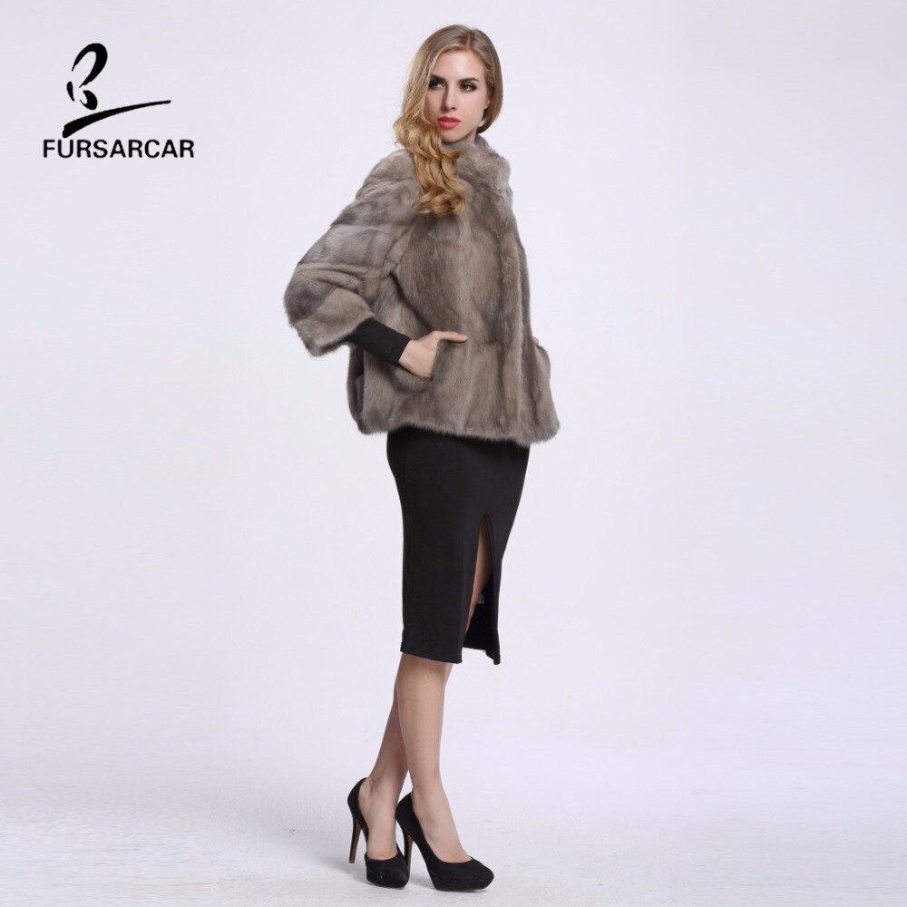 FURSARCAR Wanita Mink Fur Coat Tiga Perempat Lengan Penuh Pelt Nyata - Pakaian Wanita - Foto 5