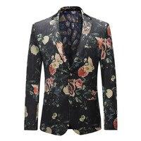 YFFUSHI 2018 New Spring Men Suit Jacket Flower Print Floral Blazer High Quality Casual Style Slim Fit Fashion